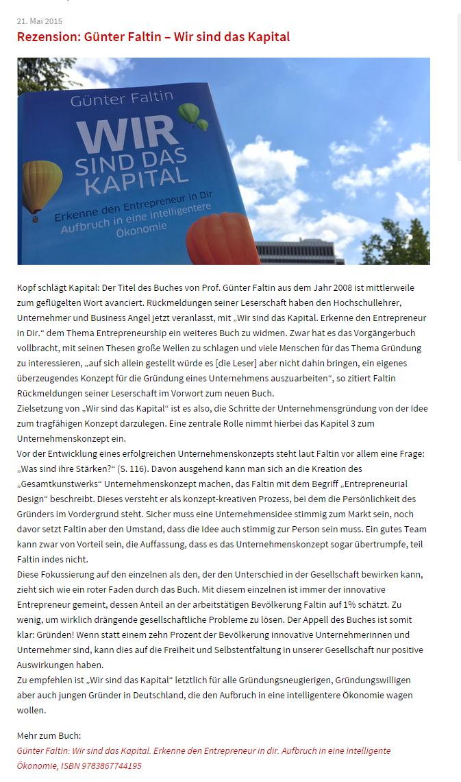 Rezension  Guenter Faltin – WsdK Wir sind das Kapital Rezension von BAND (Business Angels Netzwerk Deutschland e.V.)