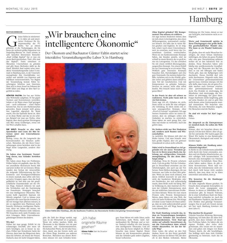 150713 Faltin Die Welt 150713 mal page 001 Die Welt Interview   Wir sind das Kapital